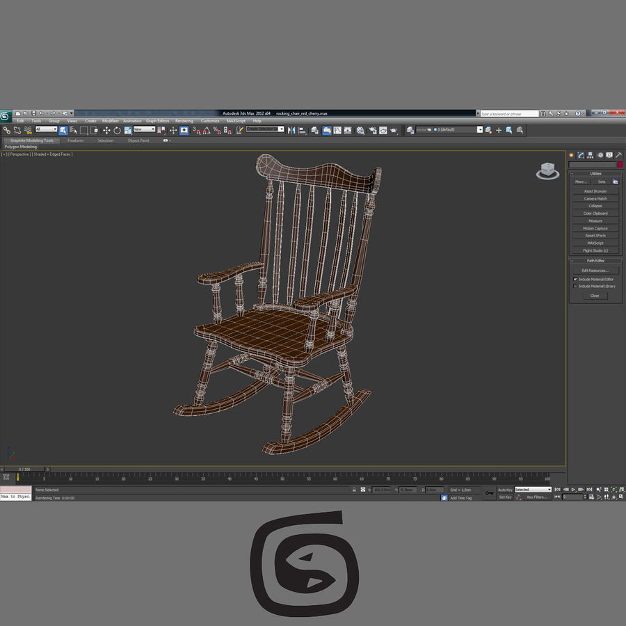 Rocking Chair Red Cherry royalty-free 3d model - Preview no. 7