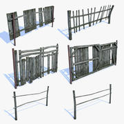 Conjunto de cercas de vila velha 3d model