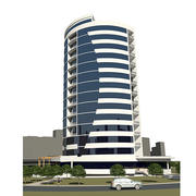 Business centre building in microdistrict 3d model