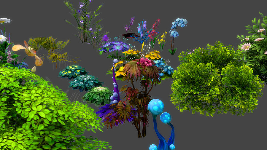Plants Flower Collection royalty-free 3d model - Preview no. 5