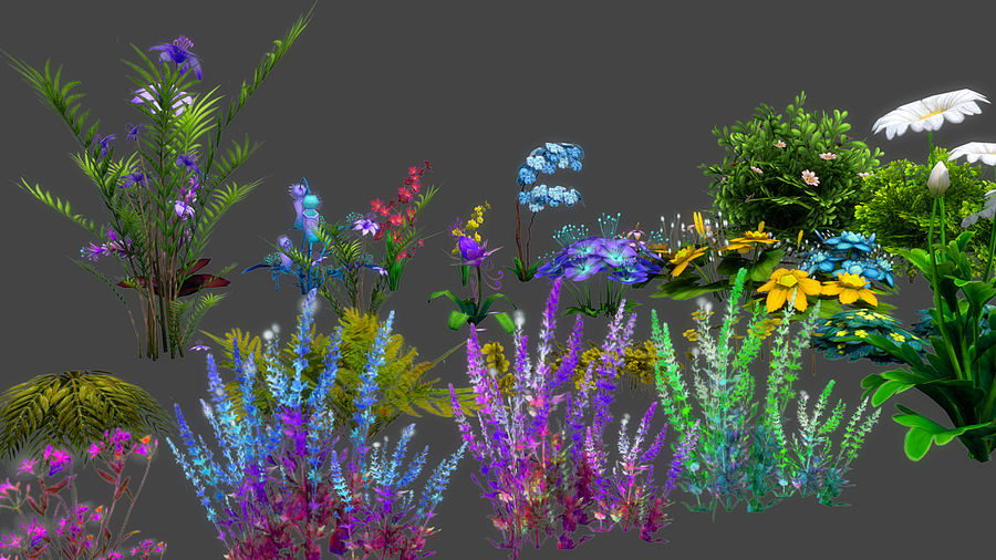 Plants Flower Collection royalty-free 3d model - Preview no. 2