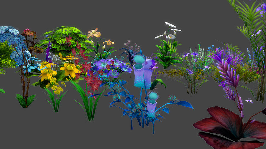 Plants Flower Collection royalty-free 3d model - Preview no. 3