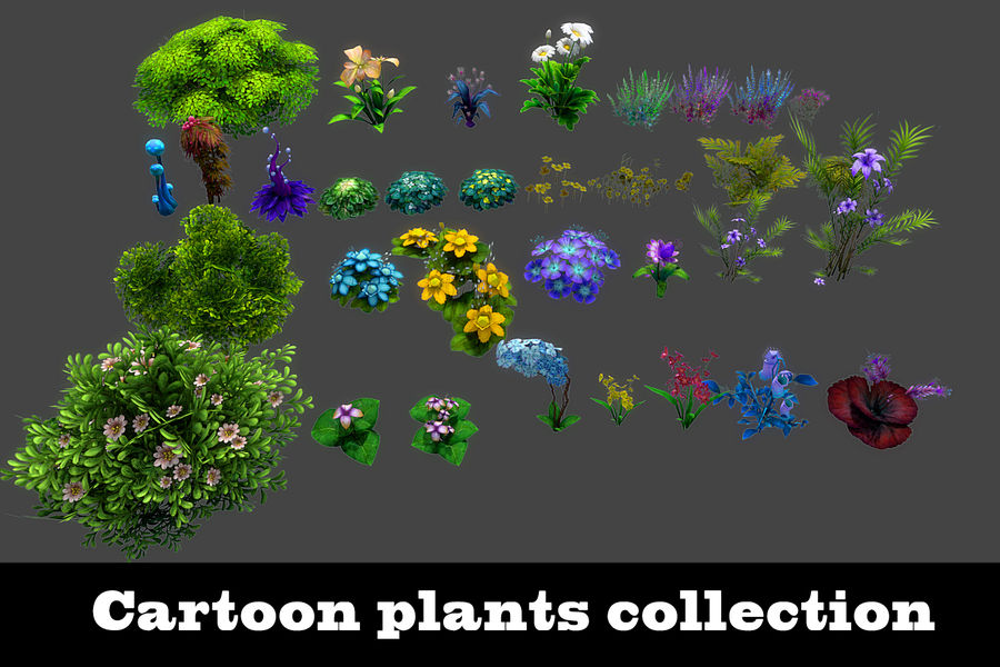 Plants Flower Collection royalty-free 3d model - Preview no. 1