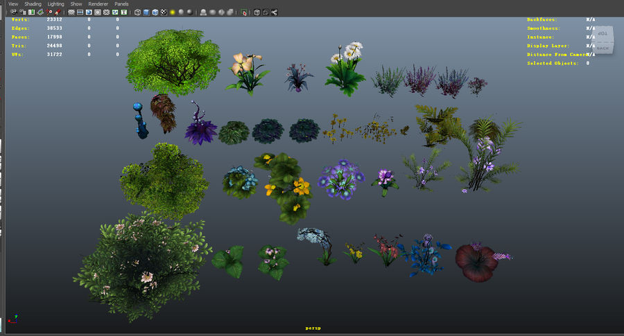 Plants Flower Collection royalty-free 3d model - Preview no. 7