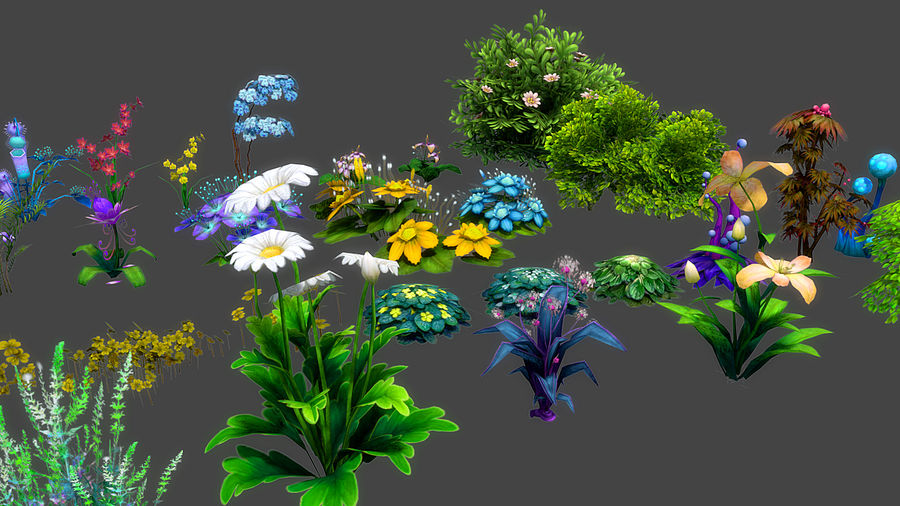 Plants Flower Collection royalty-free 3d model - Preview no. 4