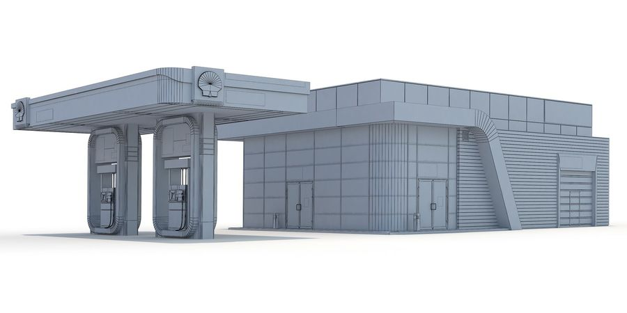 Shell gas station royalty-free 3d model - Preview no. 6