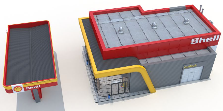 Shell gas station royalty-free 3d model - Preview no. 5