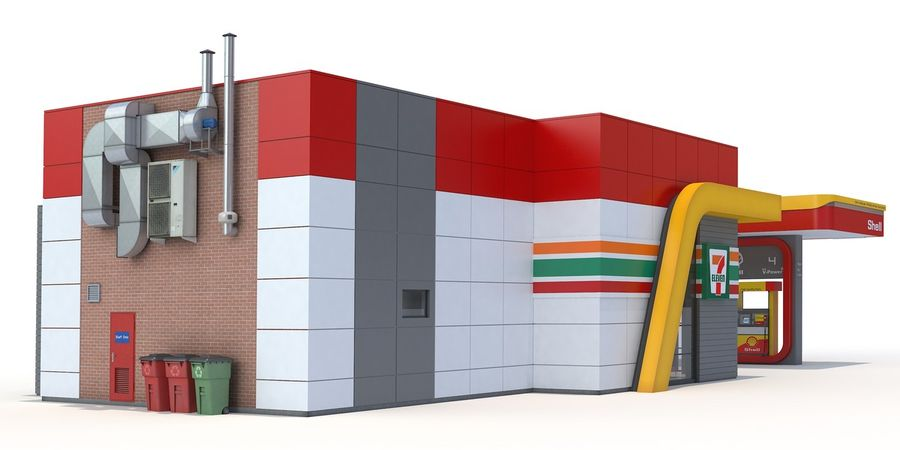 Shell gas station royalty-free 3d model - Preview no. 4