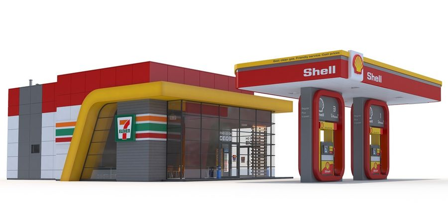 Shell gas station royalty-free 3d model - Preview no. 2
