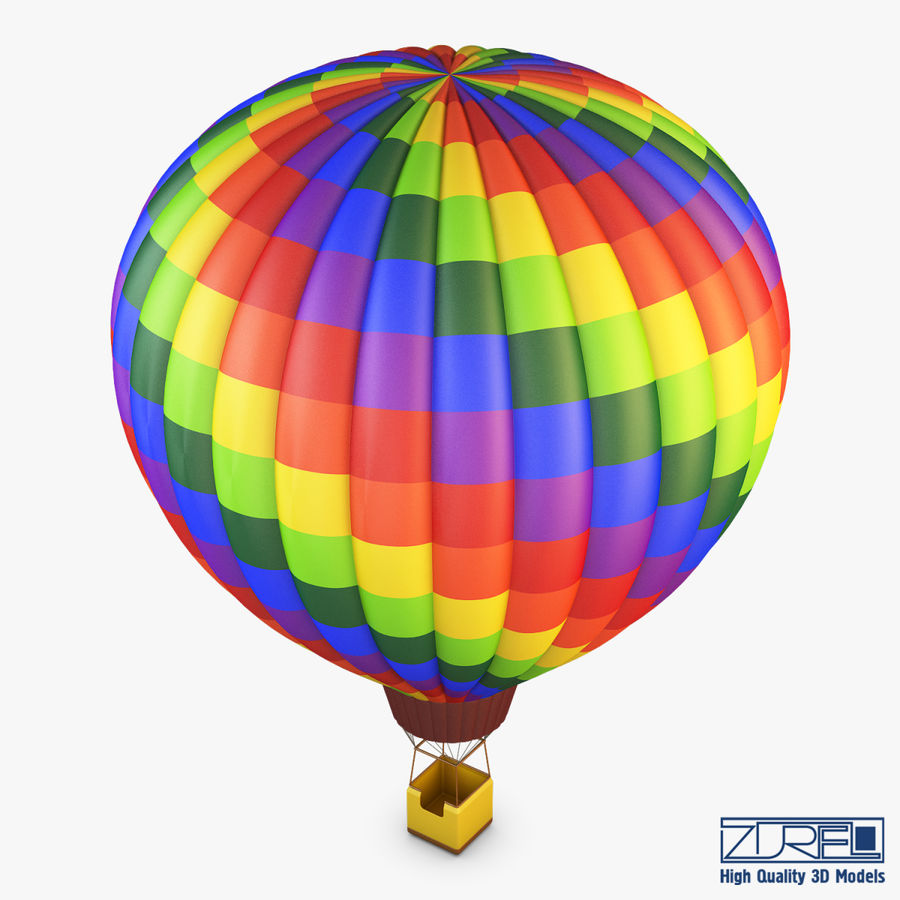 Hot Air Balloon v 1 royalty-free 3d model - Preview no. 3