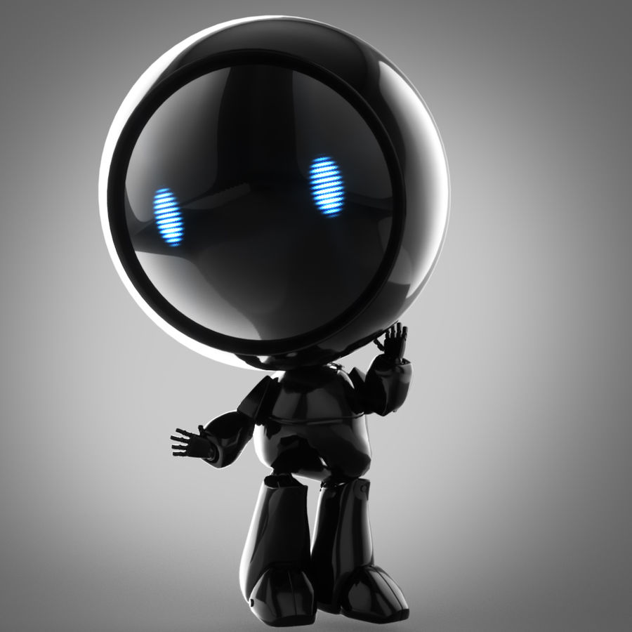 Tecknadrobot royalty-free 3d model - Preview no. 5