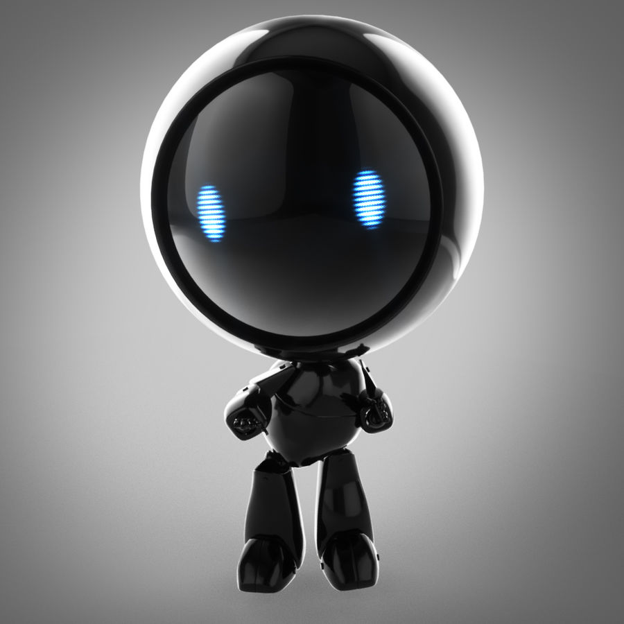 Tecknadrobot royalty-free 3d model - Preview no. 6