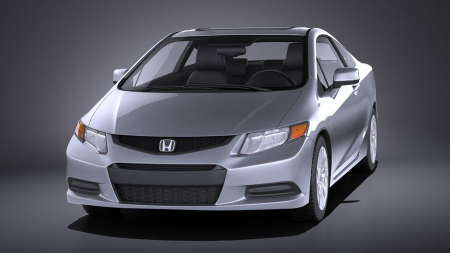 Honda Civic 2013 Usa Coupe VRAY Royalty Free 3d Model