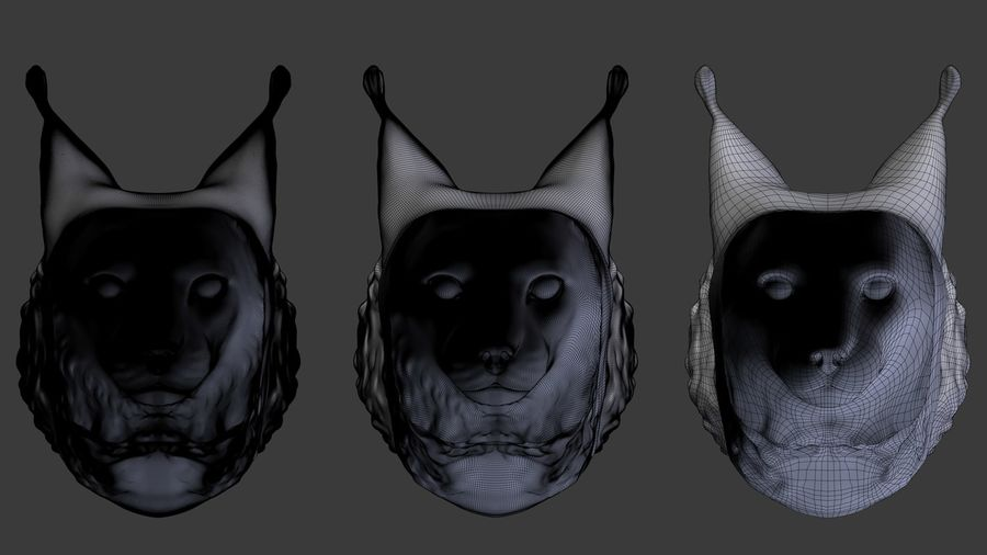 lynx head royalty-free 3d model - Preview no. 5