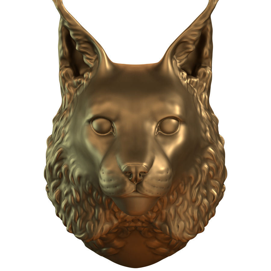 lynx head royalty-free 3d model - Preview no. 2