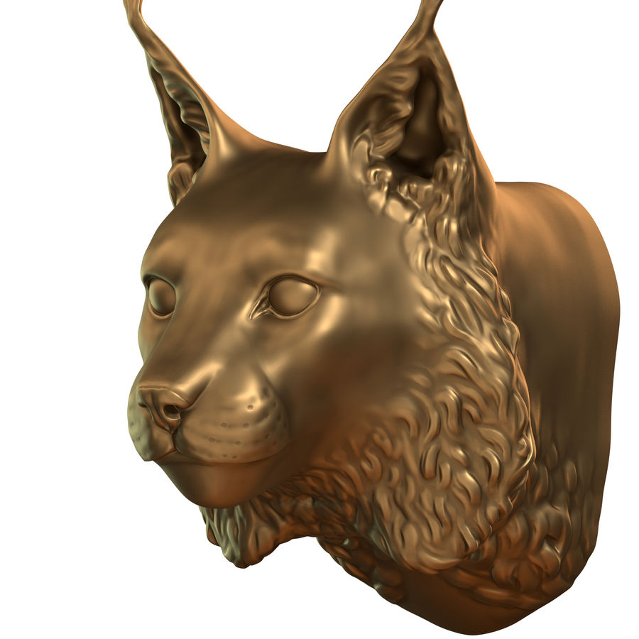 lynx head royalty-free 3d model - Preview no. 3
