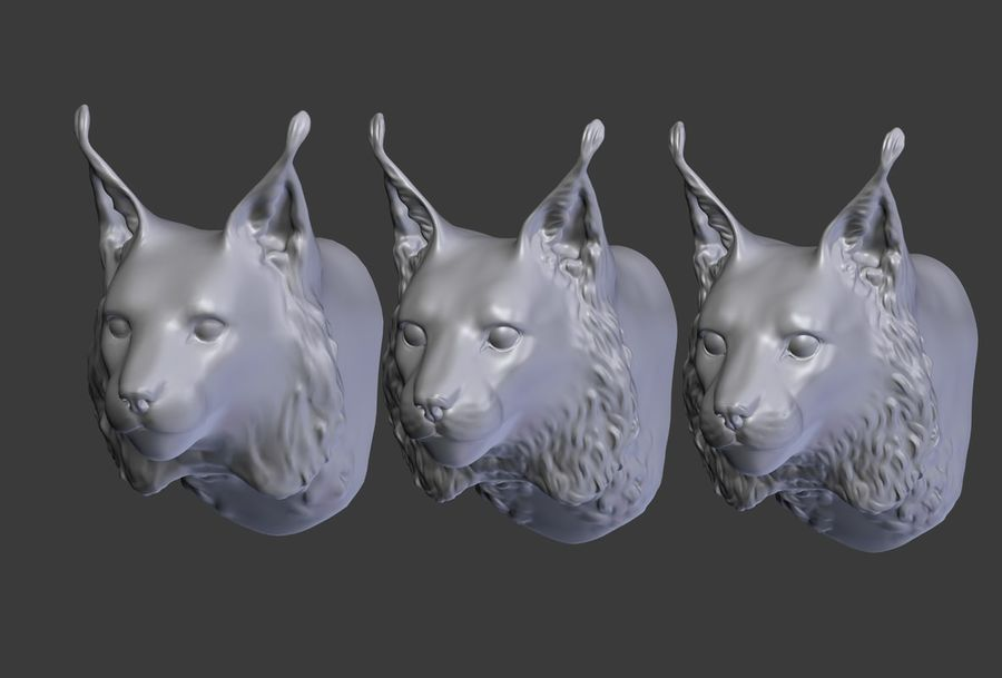 lynx head royalty-free 3d model - Preview no. 19