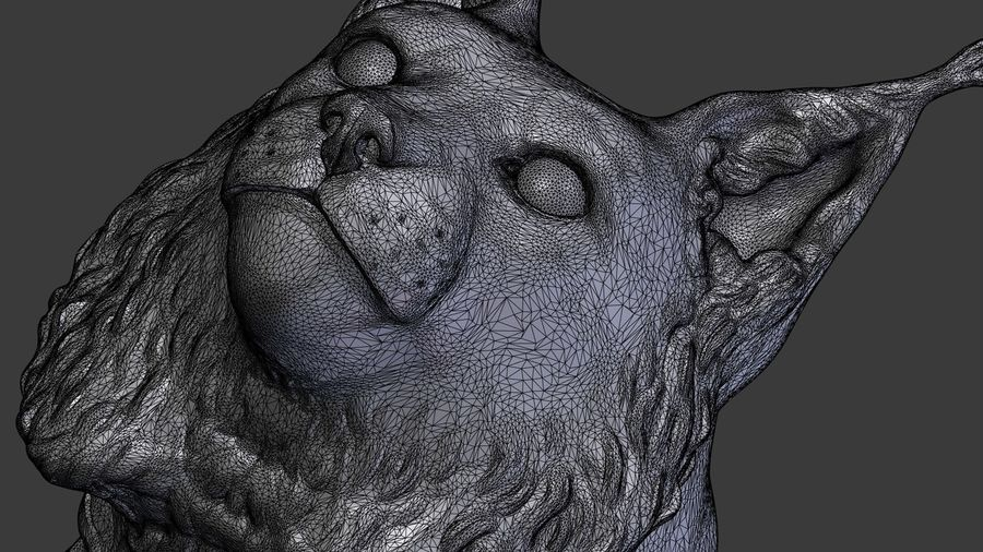 lynx head royalty-free 3d model - Preview no. 23