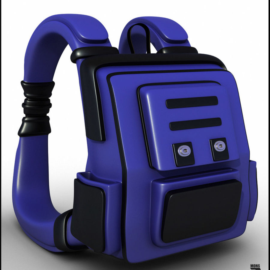 Backpack Cartoon royalty-free 3d model - Preview no. 3
