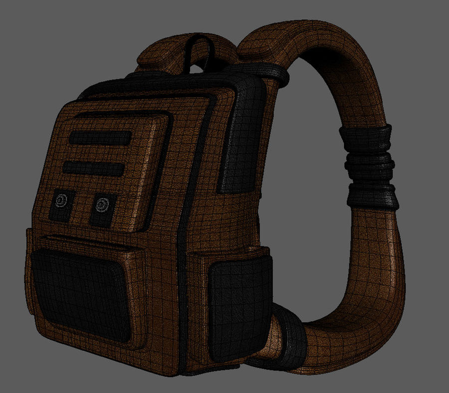 Backpack Cartoon royalty-free 3d model - Preview no. 8