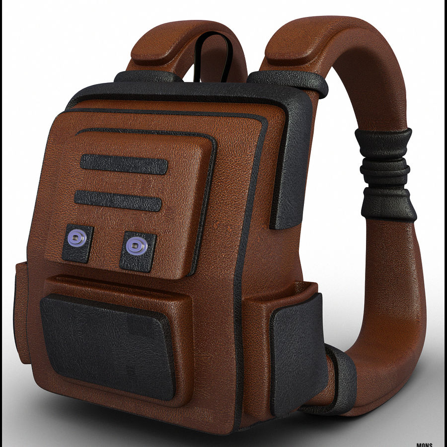 Backpack Cartoon royalty-free 3d model - Preview no. 2