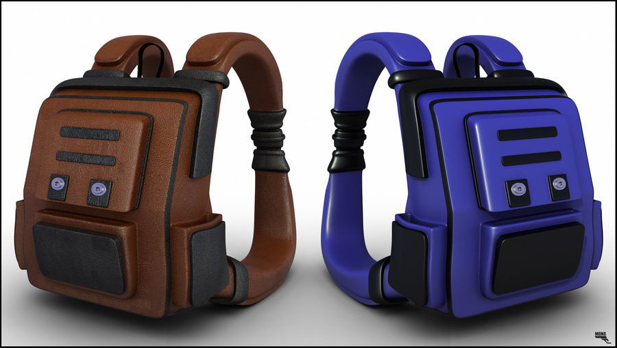 Backpack Cartoon royalty-free 3d model - Preview no. 1