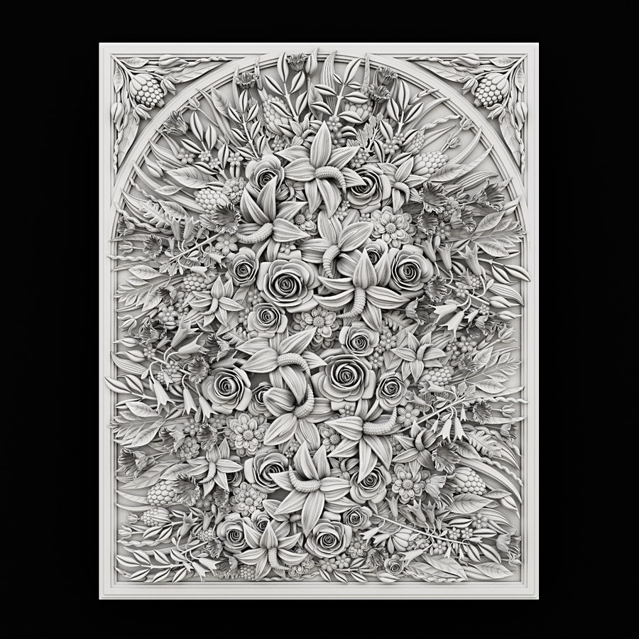 Rectangular  flower panel royalty-free 3d model - Preview no. 1