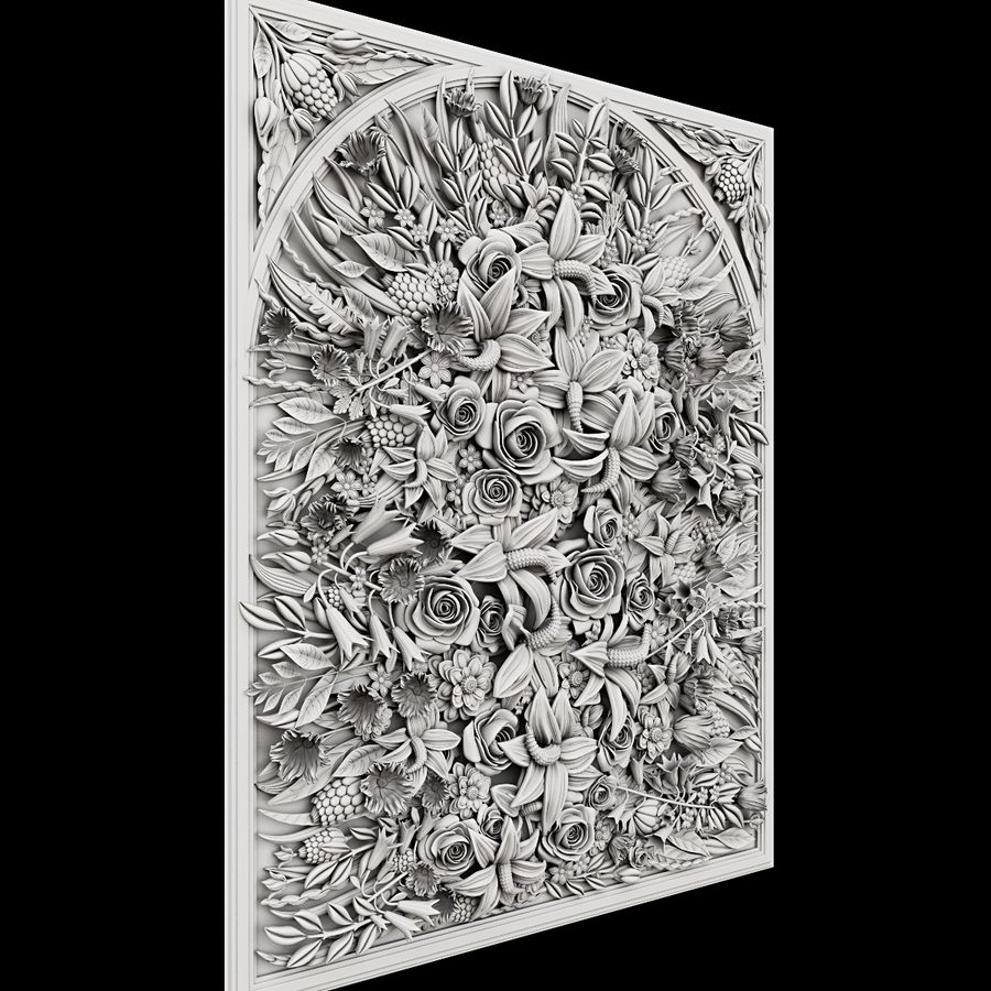 Rectangular  flower panel royalty-free 3d model - Preview no. 3