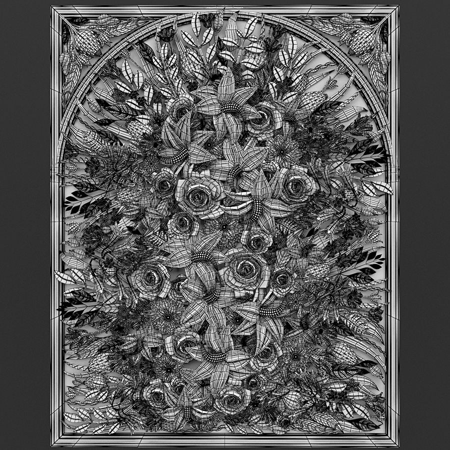 Rectangular  flower panel royalty-free 3d model - Preview no. 5