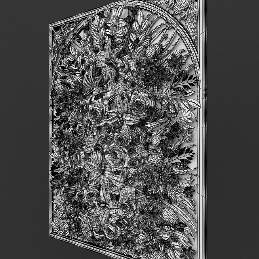 Rectangular  flower panel royalty-free 3d model - Preview no. 6