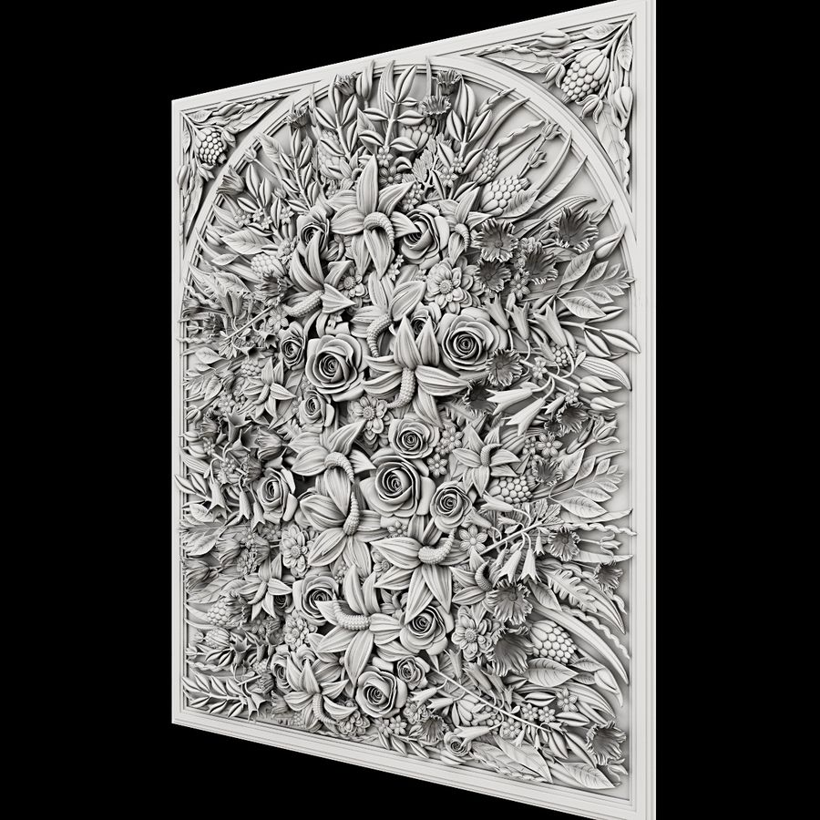 Rectangular  flower panel royalty-free 3d model - Preview no. 2