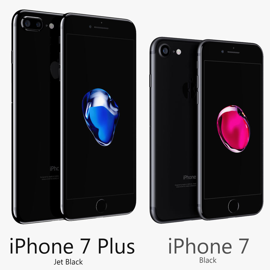 Apple iPhone 7 Plus + iPhone 7 Jet Black and Black royalty-free 3d model - Preview no. 1