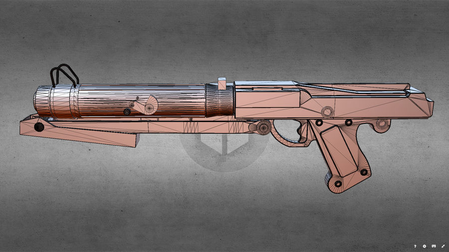 Star WARS DC-15s Blaster (3D Printable) royalty-free 3d model - Preview no. 12