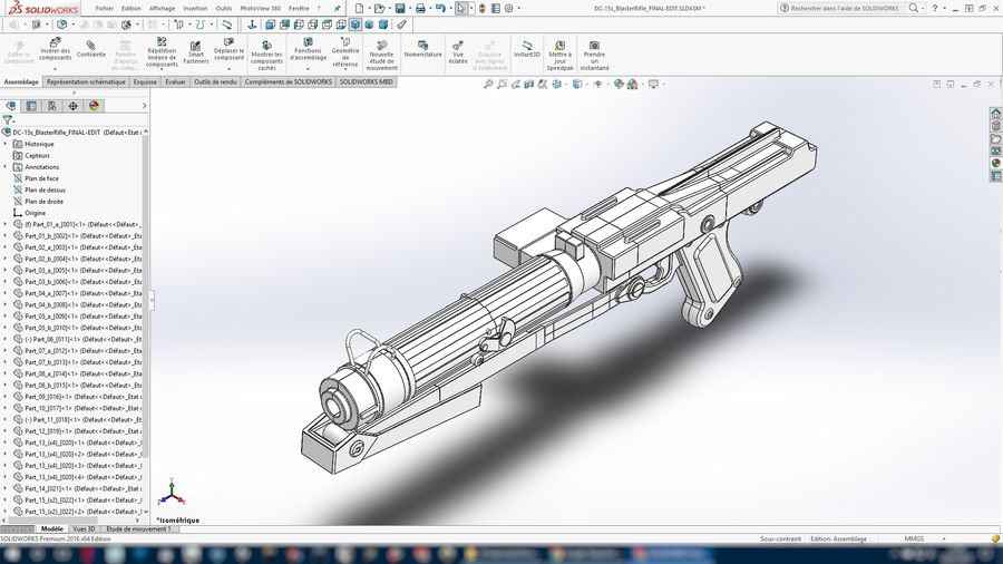 Star WARS DC-15s Blaster (3D Printable) royalty-free 3d model - Preview no. 14