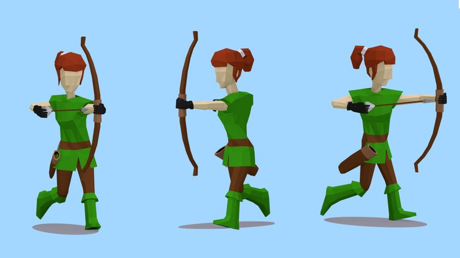 Lowpoly medieval female archer 3D Model $2 -  fbx - Free3D