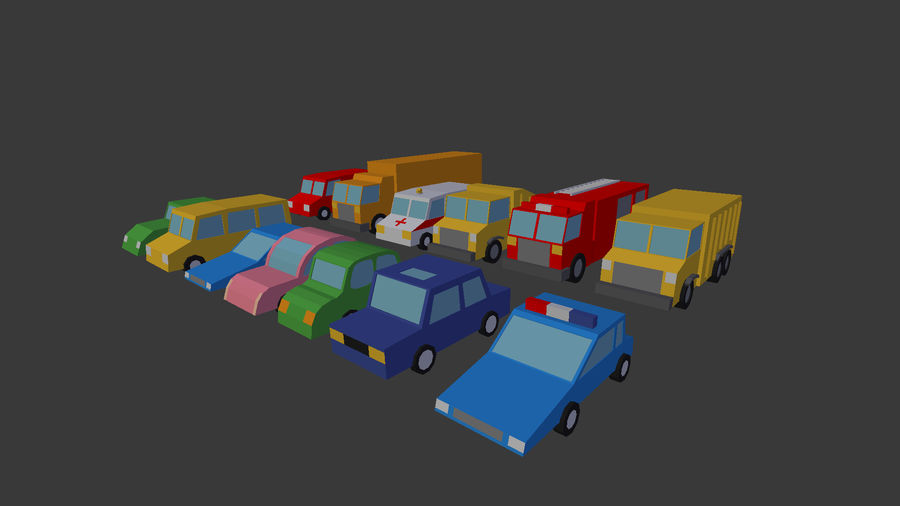 Pack de carro de baixo poli royalty-free 3d model - Preview no. 8