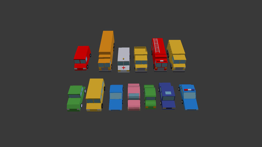 Pack de carro de baixo poli royalty-free 3d model - Preview no. 7