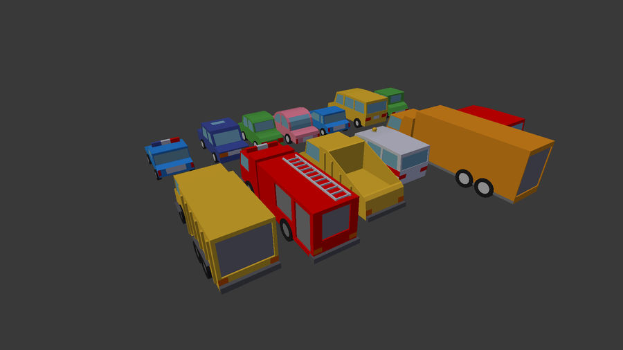 Pack de carro de baixo poli royalty-free 3d model - Preview no. 6