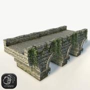 Stone bridge large low poly 3d model