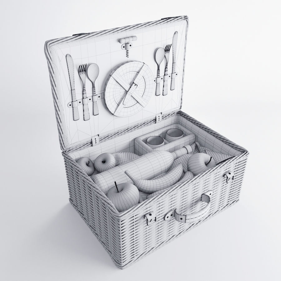 Корзина для пикника с аксессуарами royalty-free 3d model - Preview no. 9