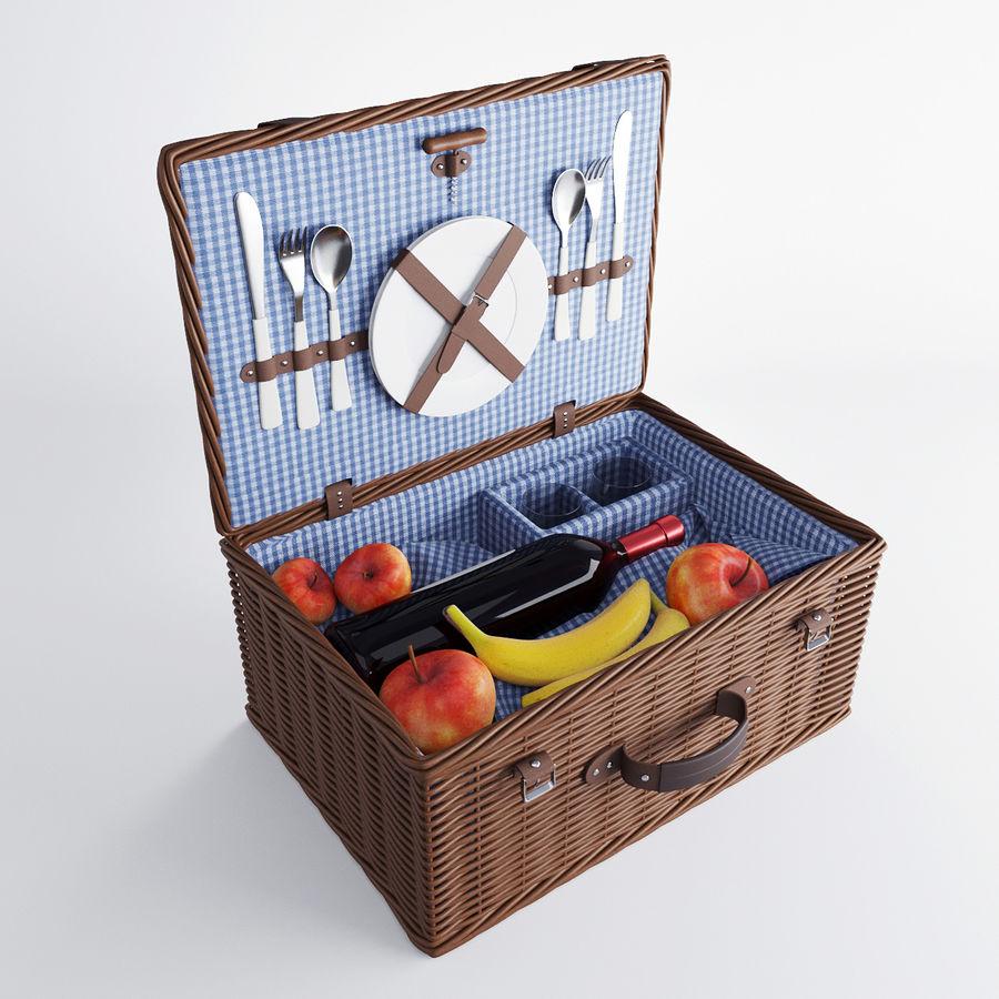 Корзина для пикника с аксессуарами royalty-free 3d model - Preview no. 1