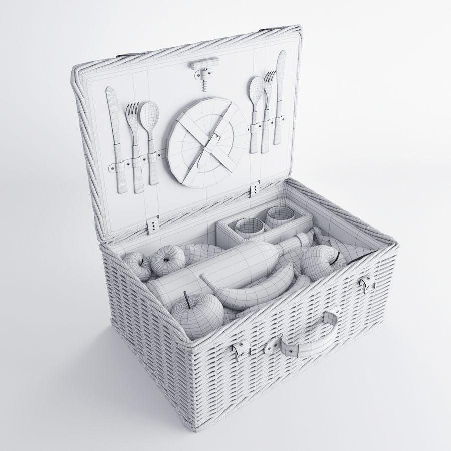 Корзина для пикника с аксессуарами royalty-free 3d model - Preview no. 8
