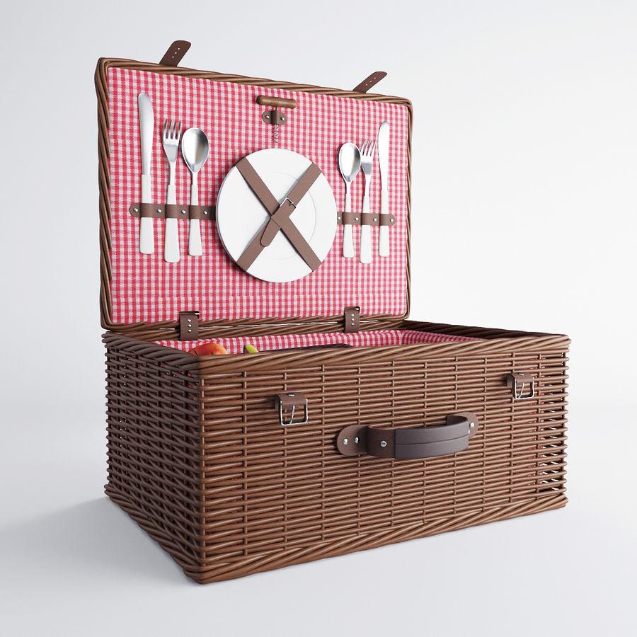 Корзина для пикника с аксессуарами royalty-free 3d model - Preview no. 7