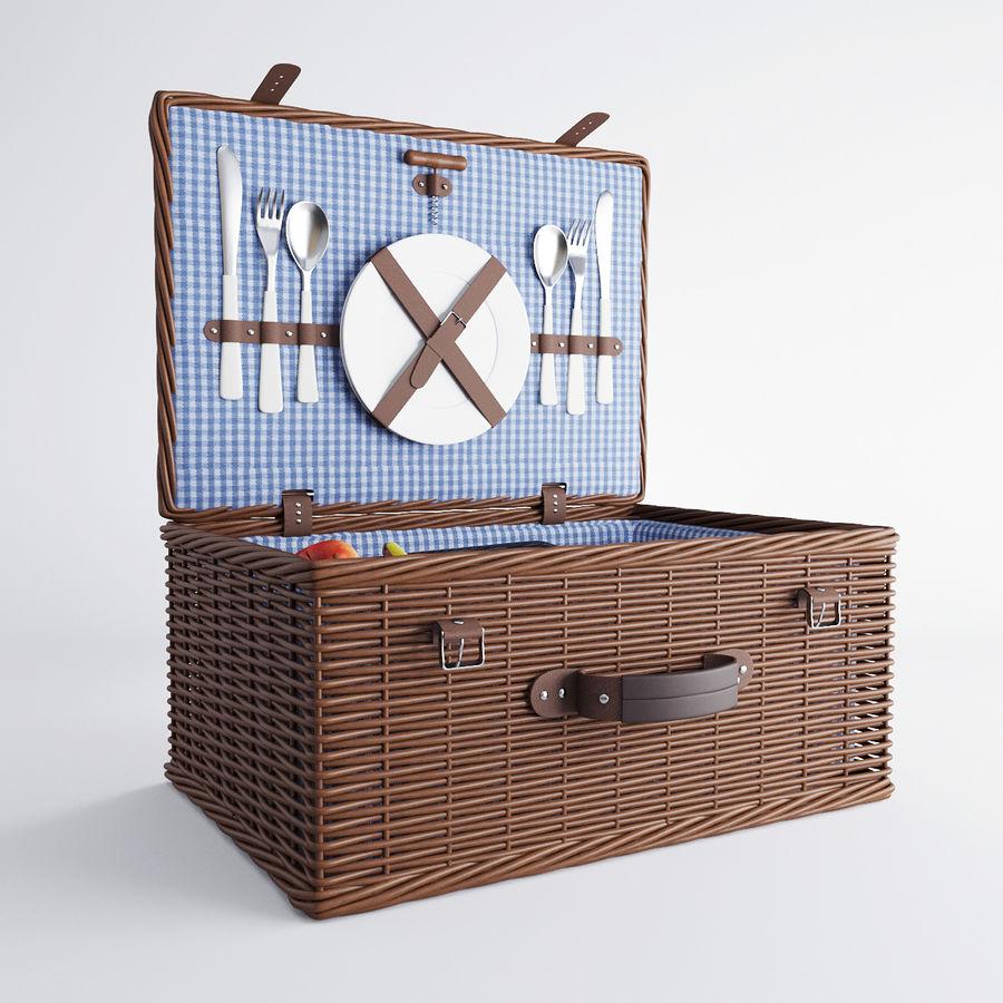 Корзина для пикника с аксессуарами royalty-free 3d model - Preview no. 6