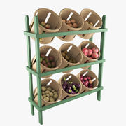 Wood Basket Floor Display 3d model