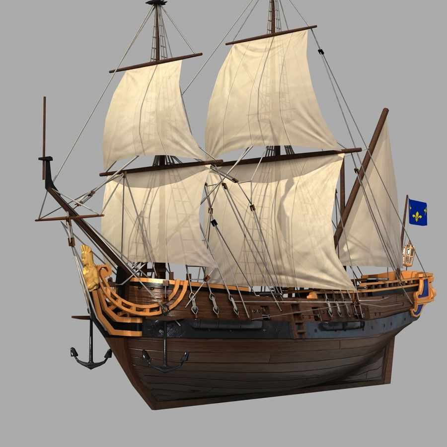 Segelschiff royalty-free 3d model - Preview no. 1