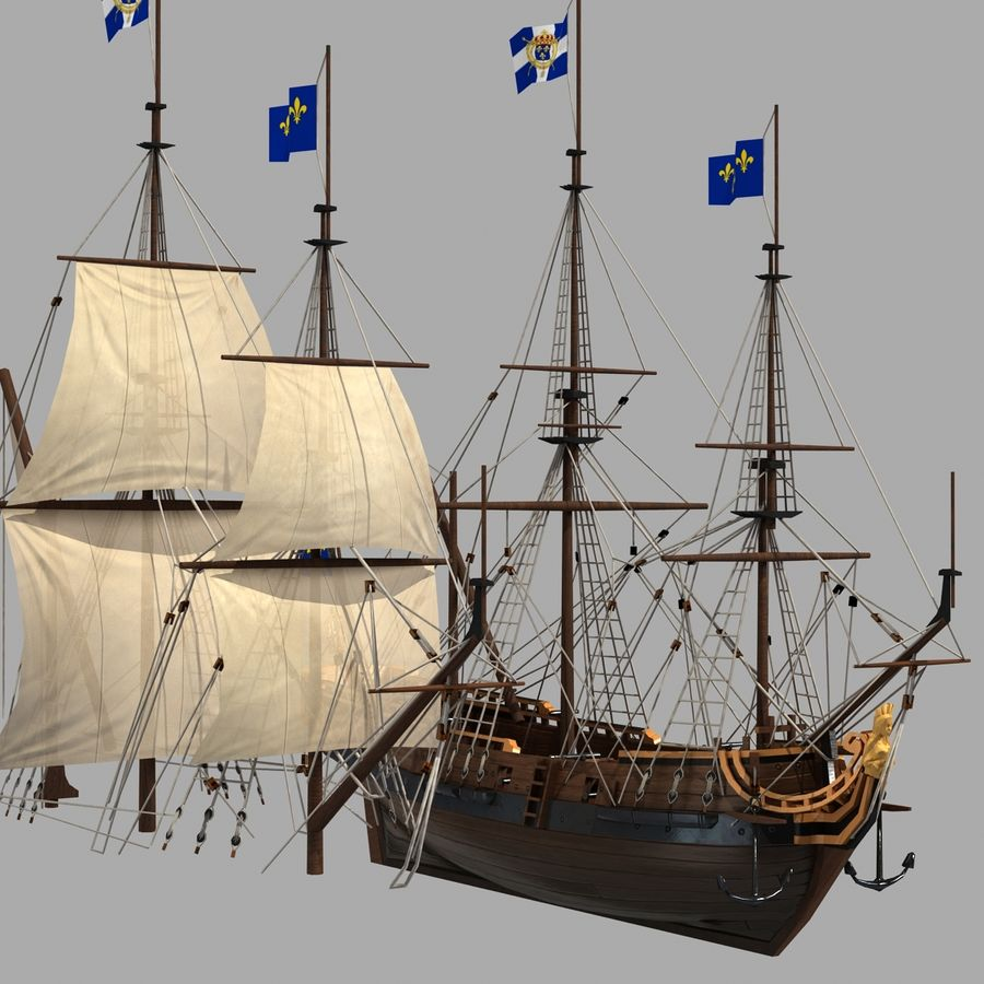 Segelschiff royalty-free 3d model - Preview no. 13