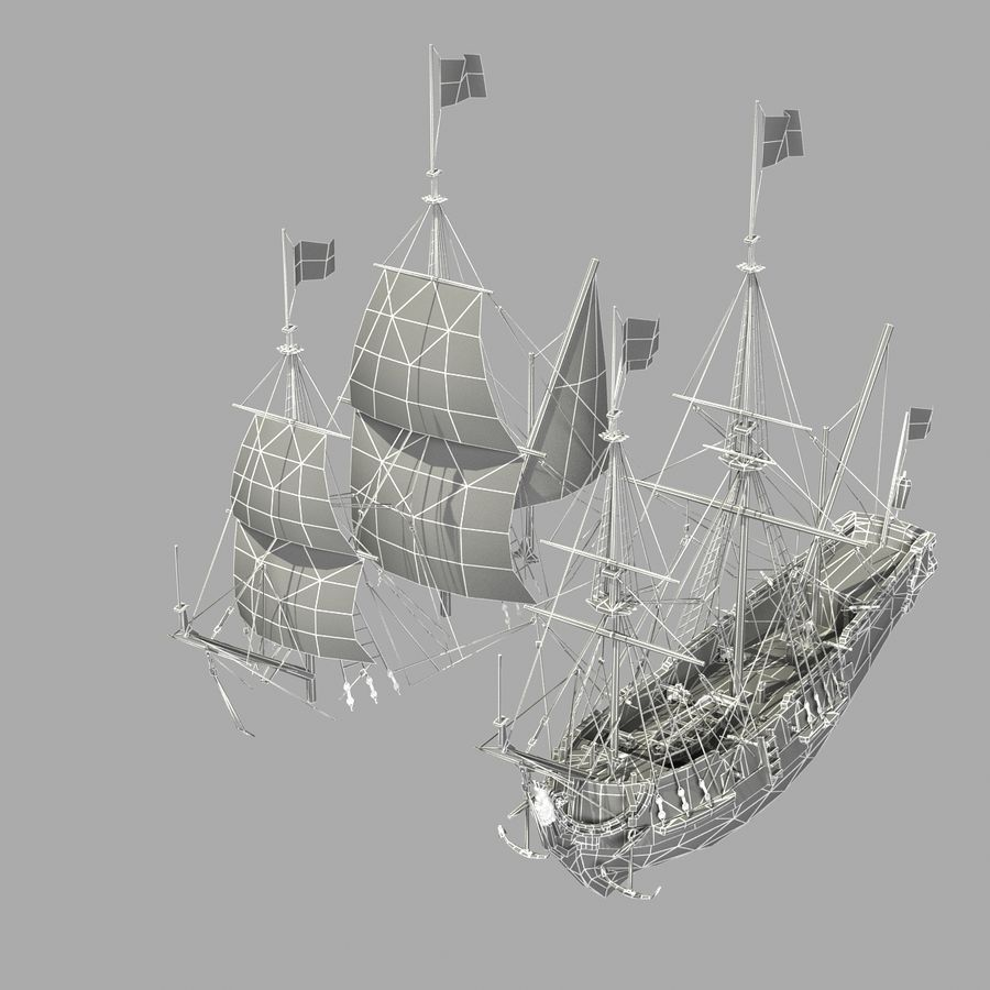 Segelschiff royalty-free 3d model - Preview no. 30