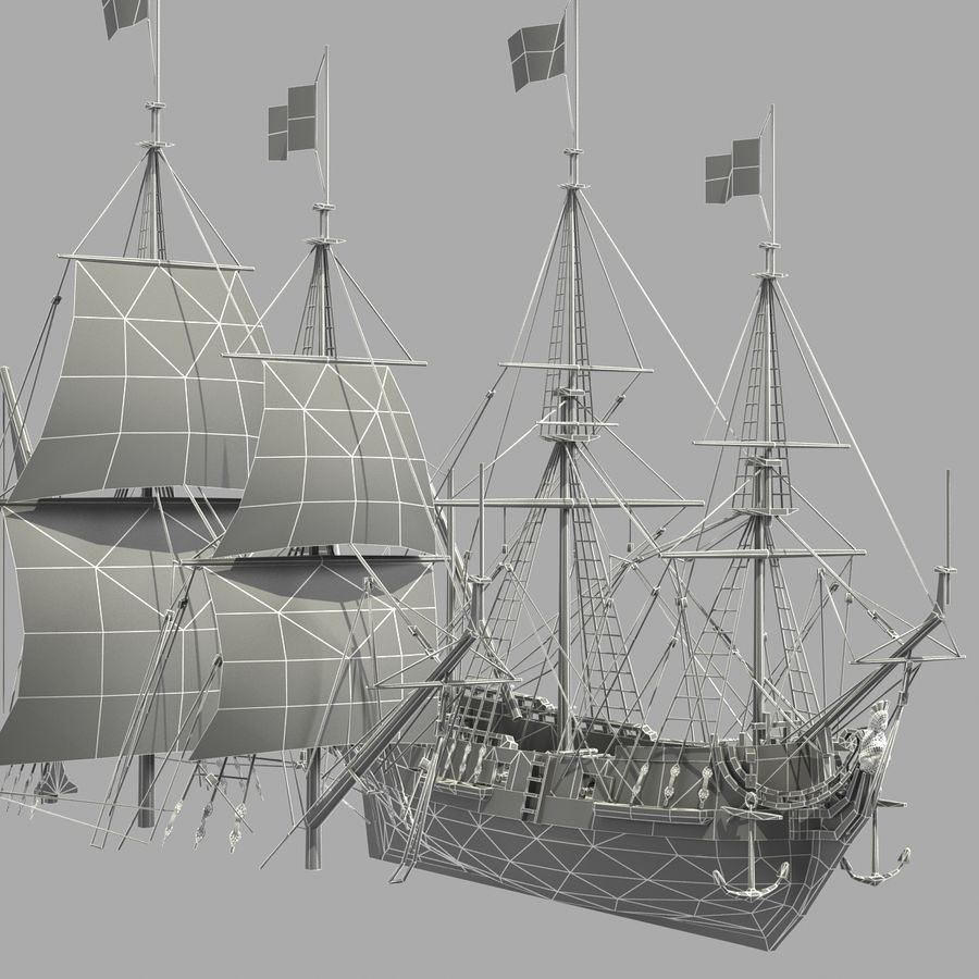 Segelschiff royalty-free 3d model - Preview no. 28