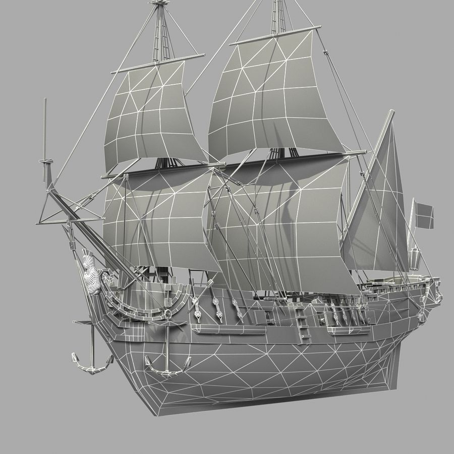 Segelschiff royalty-free 3d model - Preview no. 16